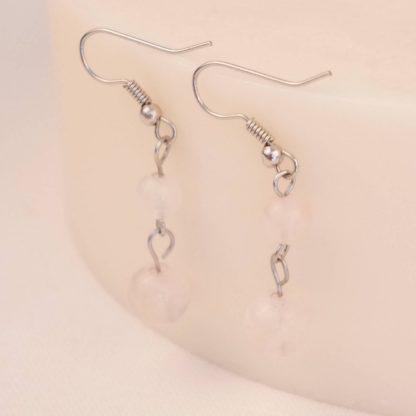 bougie boucles d'oreilles quartz rose