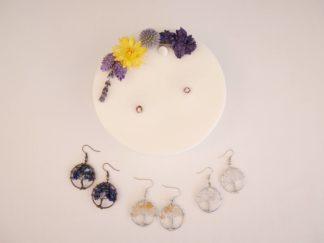 Bougie naturelle et bijoux boucle d'oreille arbre de vie