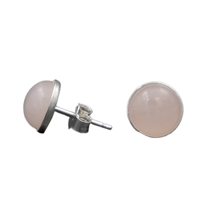 puces argent 925 quartz rose